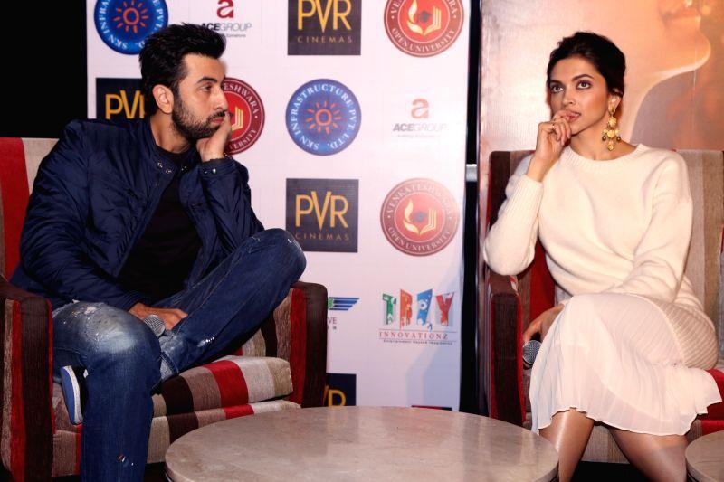 "Actors Deepika Padukone and Ranbir Kapoor during a press conference to promote their upcoming film ""Tamasha"" in New Delhi, on Nov 23, 2015. - Deepika Padukone and Ranbir Kapoor"