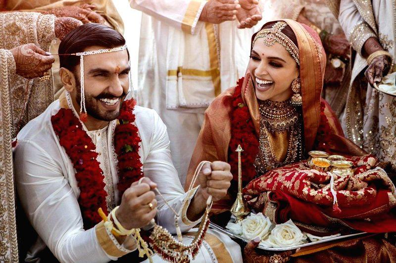 Actors Deepika Padukone and Ranveer Singh during their wedding in Italy.