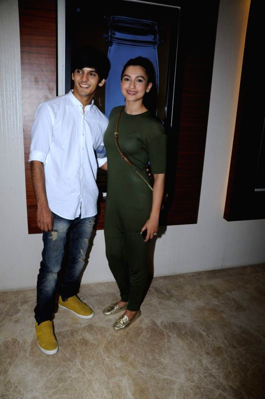 Actors Dhiraj Totlani and Gauhar Khan during the screening of film Peanut Butter in Mumbai on March 6, 2017. - Dhiraj Totlani and Gauhar Khan