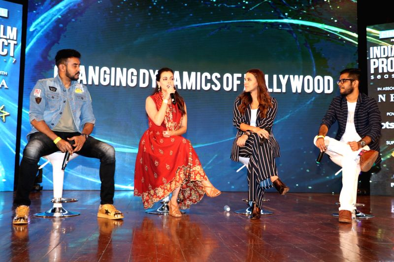 Actors Dia Mirza and Neha Dhupia during a content creation festival at Nehru Center, Worli in Mumbai on Sept 30, 2017. - Dia Mirza and Neha Dhupia