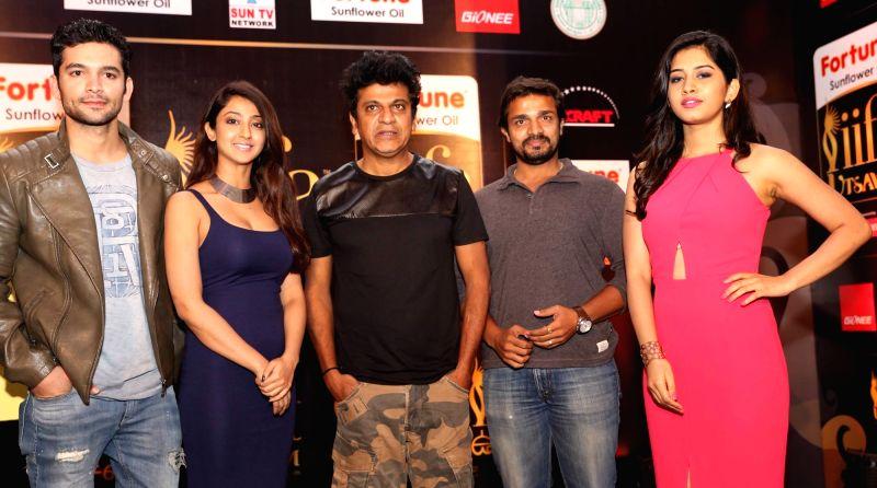 Actors Diganth, Aidrita Rai, Shivrajkumar and Nabha Natesh during the press meet of IIFA Utsavam, in Bengaluru on Oct 30, 2015. - Diganth, Aidrita Rai, Shivrajkumar and Nabha Natesh