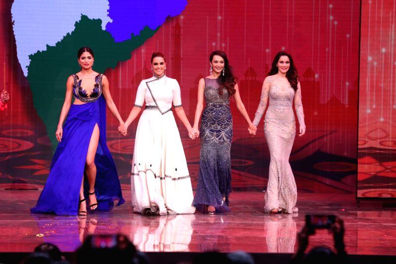 Actors Dipannita Sharma, Neha Dhupia, Model Waluscha de Sousa during the fbb femina Miss India 2017 in Mumbai, on June 25, 2017. - Model Waluscha, Dipannita Sharma and Neha Dhupia