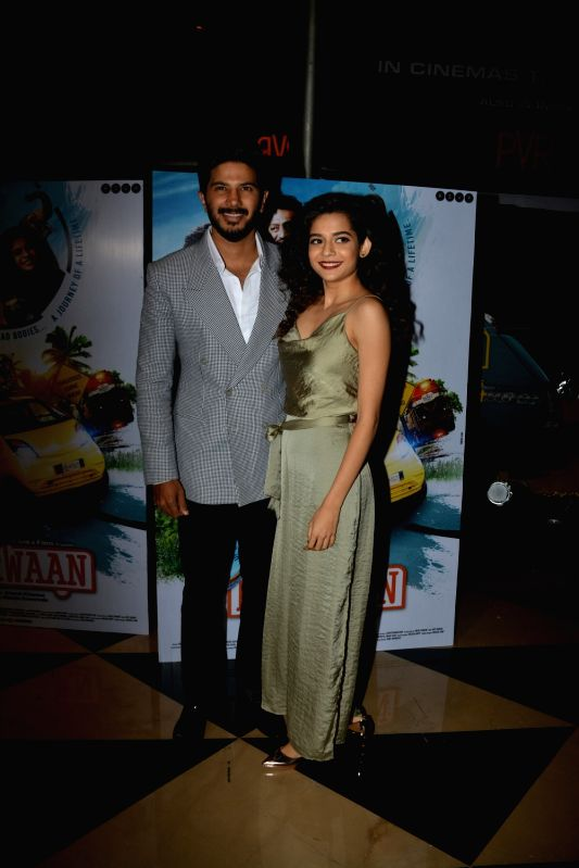 "Actors Dulquer Salmaan and Mithila Palkar at the special screening of their upcoming film ""Karwaan"", in Mumbai on Aug 2, 2018. - Dulquer Salmaan and Mithila Palkar"
