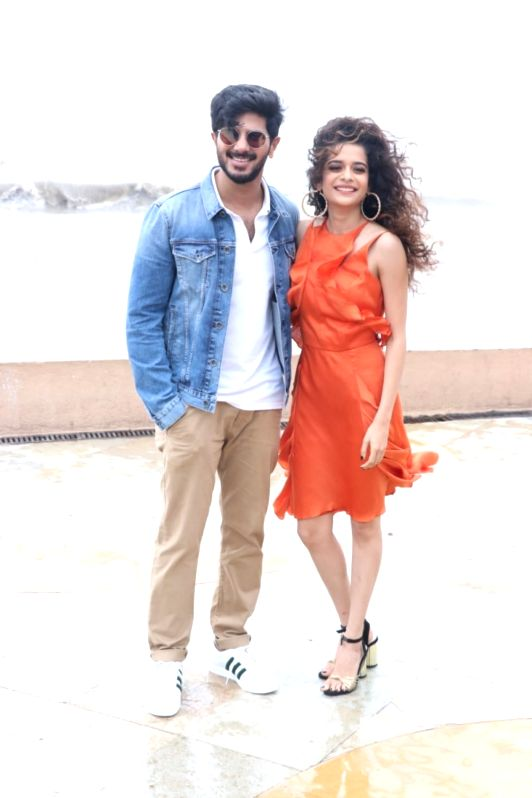 """Actors Dulquer Salmaan and Mithila Palkar during the promotion of their upcoming film """"Karwaan"""" in Mumbai on July 14, 2018. - Dulquer Salmaan and Mithila Palkar"""
