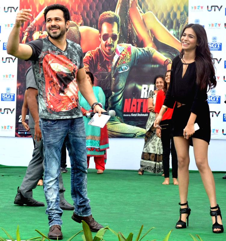 Actors Emraan Hashmi and  Humaima Malik during a programme organised to promote their upcoming film Raja Natwarlal in Gurgaon on Aug 29, 2014. - Emraan Hashmi and Humaima Malik