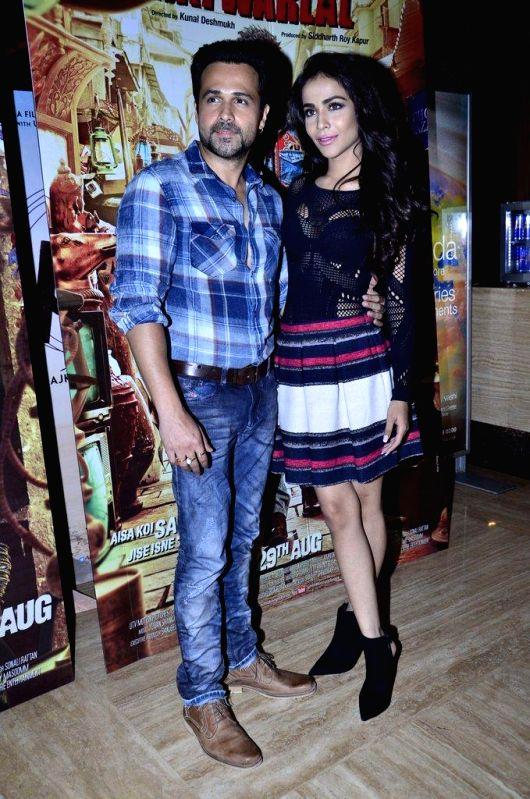 Actors Emraan Hashmi and Humaima Malik during the promotion of the upcoming film Raja Natwarlal in Mumbai, on August 9, 2014. - Emraan Hashmi and Humaima Malik