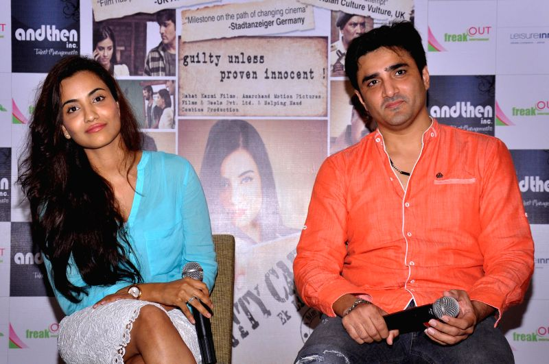 Actors Furqan Merchant and Tia Bajpai during a press conference to promote their upcoming film `Identity Card` in Jaipur on Aug 12, 2014. - Furqan Merchant and Tia Bajpai