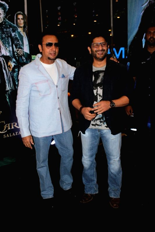 Actors Gulshan Grover and Arshad Warsi during the screening of Hollywood film Pirates of The Caribbean: Salazar's Revenge in Mumbai on May 25, 2017. - Gulshan Grover and Arshad Warsi