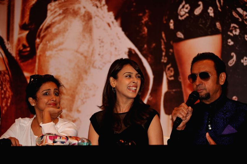 Actors Gulshan Grover, Hrishitaa Bhatt and Divya Dutta during the music launch of film Chehere in Mumbai, on July 31, 2015. - Gulshan Grover, Hrishitaa Bhatt and Divya Dutta