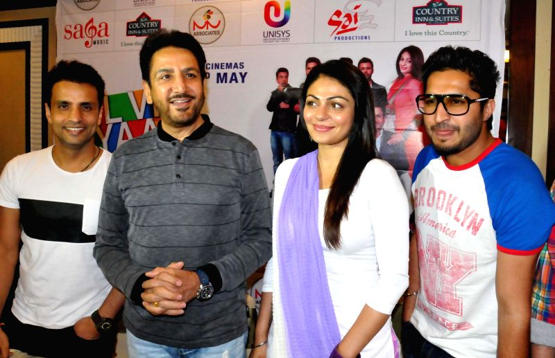 Actors Gurdas Maan, Jassi Gill, Rajiv Thakur and Neeru Bajwa during a press conference to promote their upcoming film 'Dil Vil Pyar Vyar' in Amritsar on April 21, 2014. - Gurdas Maan, Jassi Gill, Rajiv Thakur and Neeru Bajwa