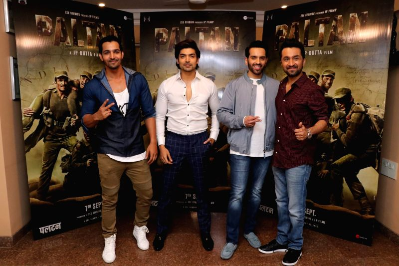 "Actors Harshvardhan Rane, Gurmeet Choudhary, Luv Sinha and Siddhanth Kapoor during the promotion of their upcoming film ""Paltan"" in Mumbai on Aug 10, 2018. - Harshvardhan Rane, Gurmeet Choudhary, Luv Sinha and Siddhanth Kapoor"