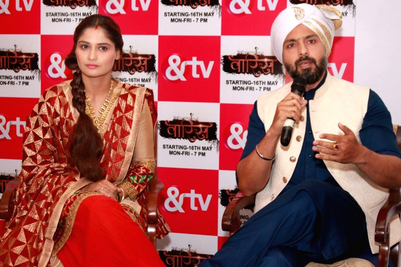 "Actors Iqbal Khan and Aarti Singh during a press conference regarding their TV show ""Waaris"" in New Delhi on May 7, 2016. - Iqbal Khan and Aarti Singh"