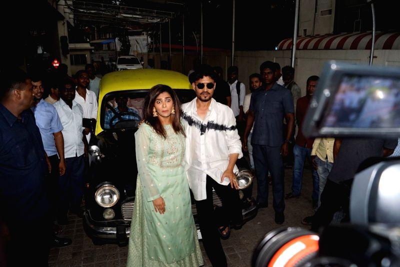 "Actors Irrfan Khan and Parvathy at the trailer launch of his upcoming film ""Qarib Qarib Singlle"" in Mumbai, on Oct 6, 2017. - Irrfan Khan and Parvathy"