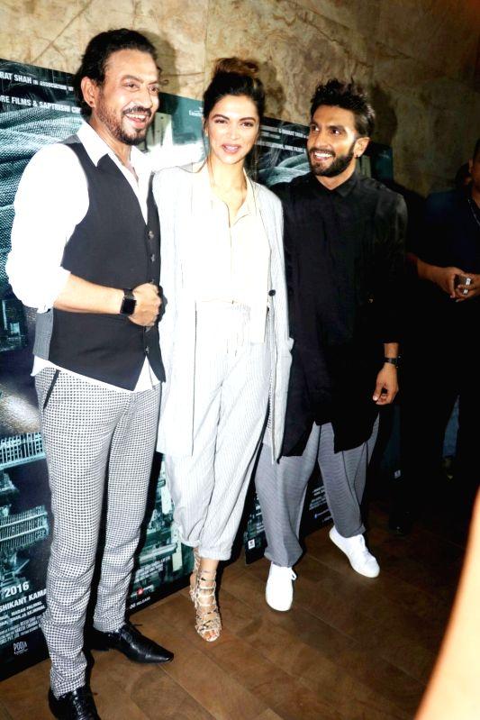 Actors Irrfan Khan, Deepika Padukone and Ranveer Singh during the screening of film Madaari in Mumbai, on July 21, 2016. - Irrfan Khan, Deepika Padukone and Ranveer Singh