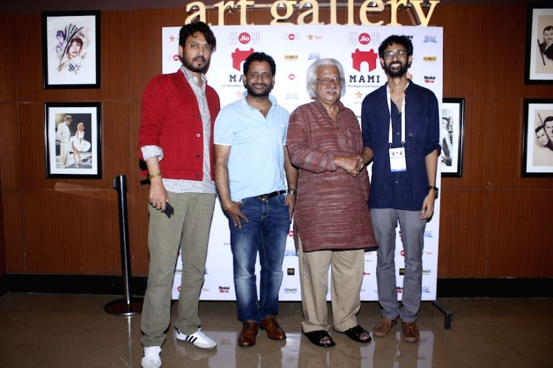 Actors Irrfan Khan, film sound designer, sound editor and mixer Resul Pookutty, Malayalam filmmaker Adoor Gopalakrishnan and Filmmaker Raam Reddy, during the premier of Kannada feature film ... - Raam Reddy and Irrfan Khan