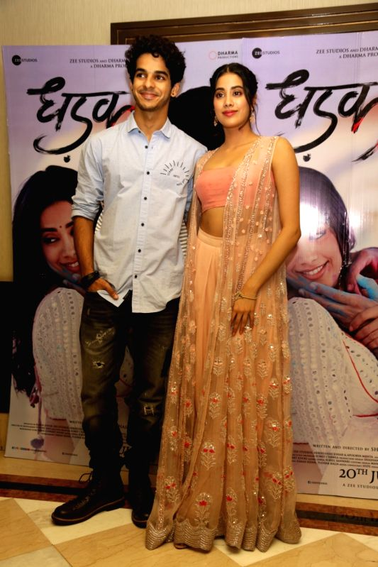 """Actors Ishaan Khattar and Janhvi Kapoor during the promotions of their upcoming film """"Dhadak"""", in New Delhi on July 18, 2018. - Ishaan Khattar and Janhvi Kapoor"""