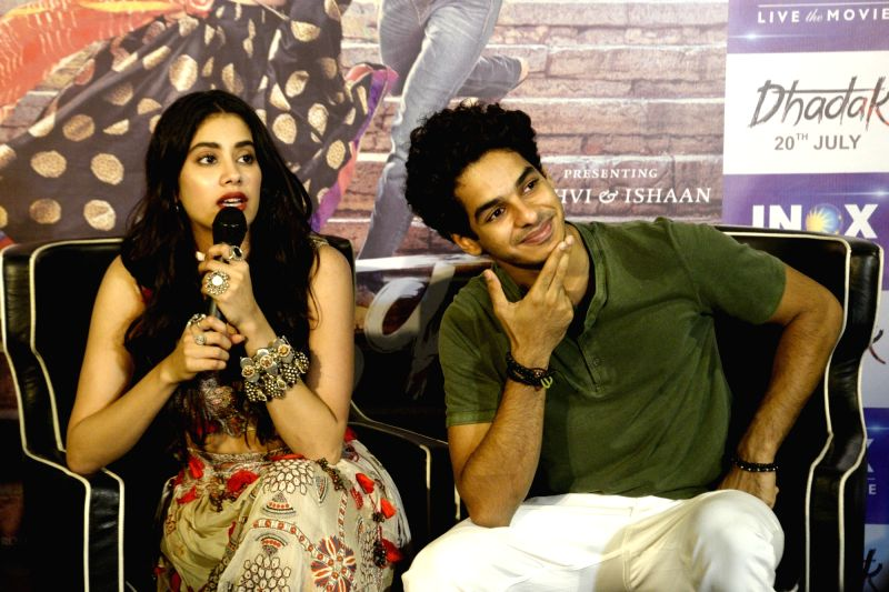 "Actors Ishaan Khattar and Jhanvi Kapoor during promotions of their upcoming film ""Dhadak"", in Kolkata, on July 13, 2018. - Ishaan Khattar and Jhanvi Kapoor"