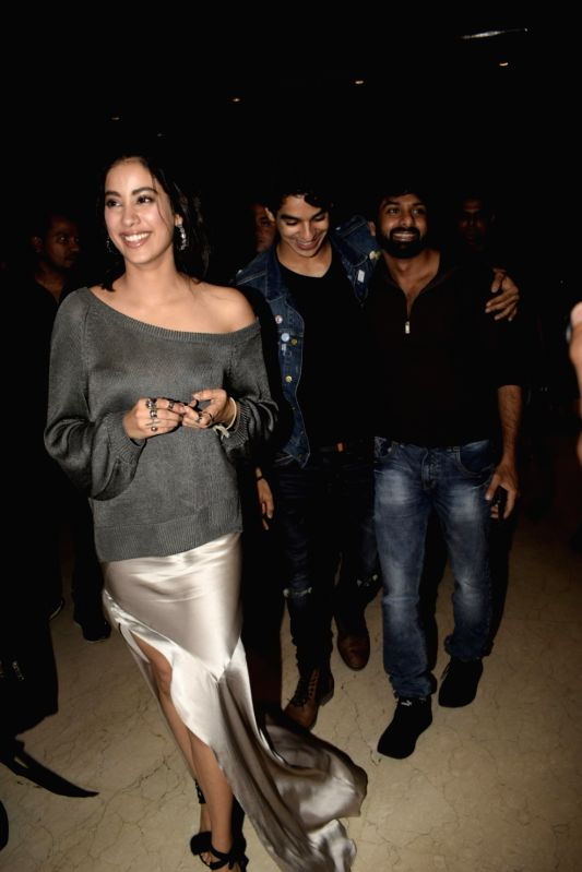 "Actors Ishaan Khattar and Jhanvi Kapoor during promotions of their upcoming film ""Dhadak"", in Mumbai on July 19, 2018. - Ishaan Khattar and Jhanvi Kapoor"