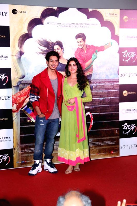 "Actors Ishaan Khatter and Janhvi Kapoor at the trailer launch of upcoming film ""Dhadak"" in Mumbai, on June 11, 2018. - Ishaan Khatter and Janhvi Kapoor"