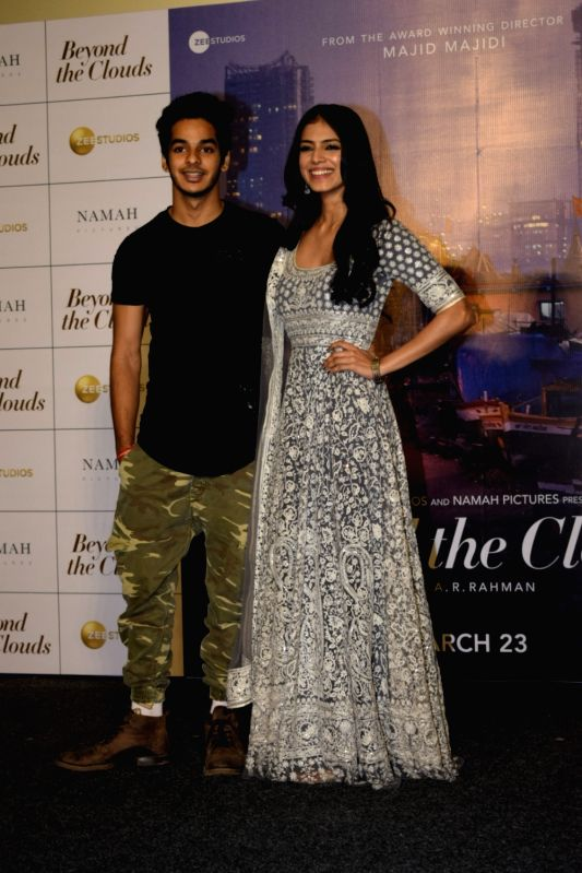 """Actors Ishaan Khatter and Malavika Mohanan at the trailer launch of their upcoming film """"Beyond the Clouds"""" in Mumbai on Jan 29, 2018. - Ishaan Khatter and Malavika Mohanan"""