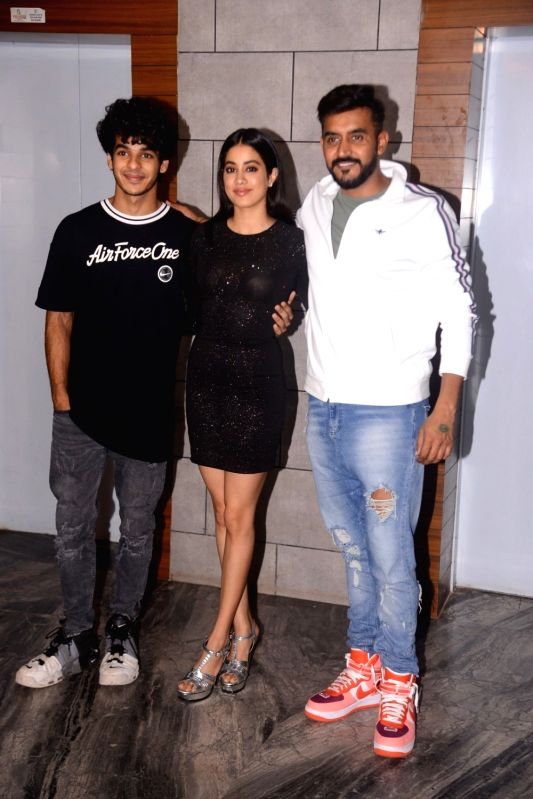 "Actors Ishaan Khatter,  Janhvi Kapoor and director Shashank Khaitan during the success party of their film ""Dhadak"" in Mumbai on Aug 9, 2018. - Shashank Khaitan, Ishaan Khatter and Janhvi Kapoor"