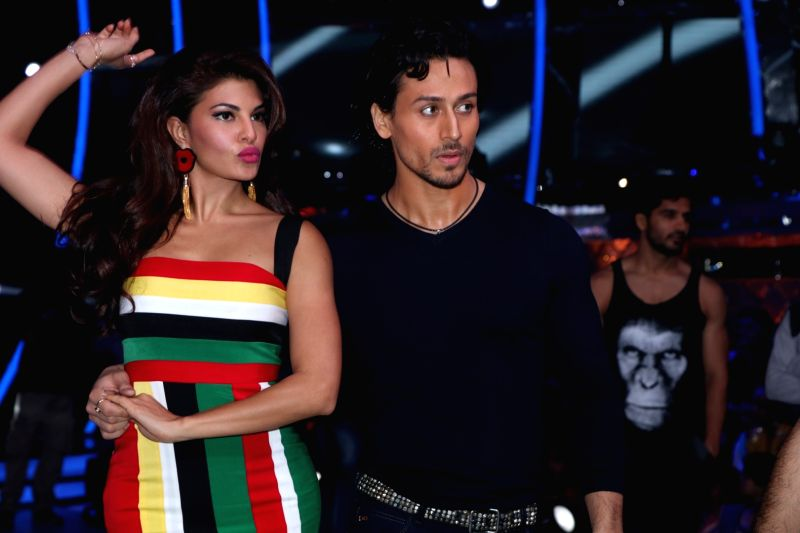 Actors Jacqueline Fernandez and Tiger Shroff during the promotion of film A Flying Jatt on the sets of reality dance show Jhalak Dikhhla Jaa season 9 in Mumbai on Aug 2, 2016. - Jacqueline Fernandez and Tiger Shroff