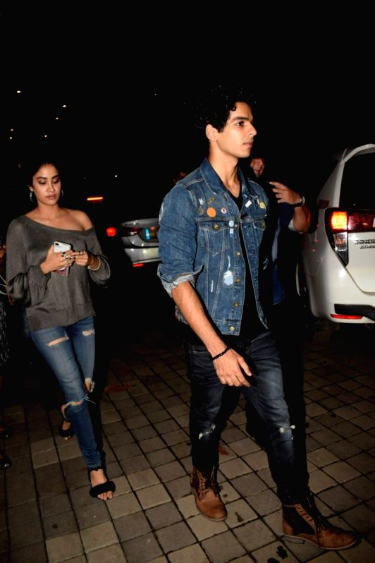 "Actors Janhvi Kapoor and Ishaan Khatter at the special screening of film ""Dhadak"" in Mumbai on July 19, 2018. - Janhvi Kapoor and Ishaan Khatter"