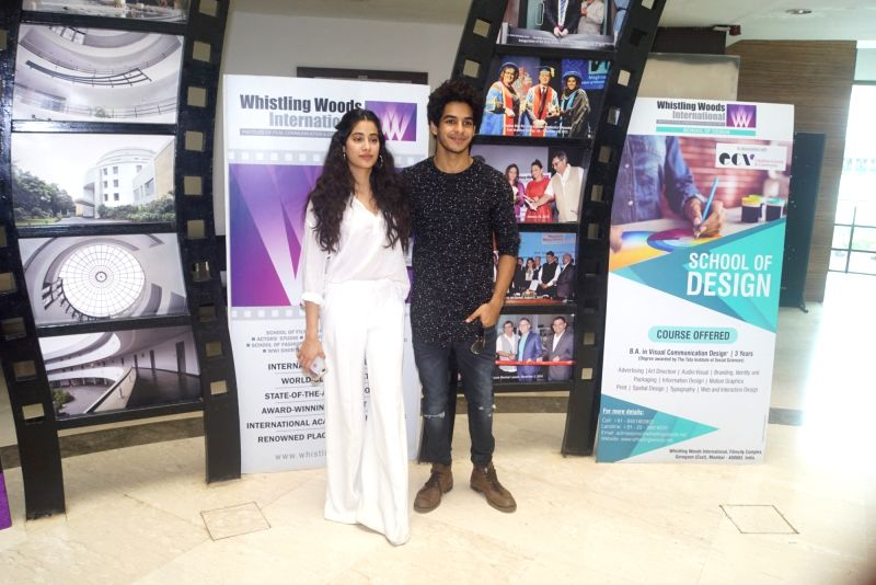Actors Janhvi Kapoor and Ishaan Khatter during a interactive session with students at the Whistling Woods in Mumbai on Aug 8, 2018. - Janhvi Kapoor and Ishaan Khatter