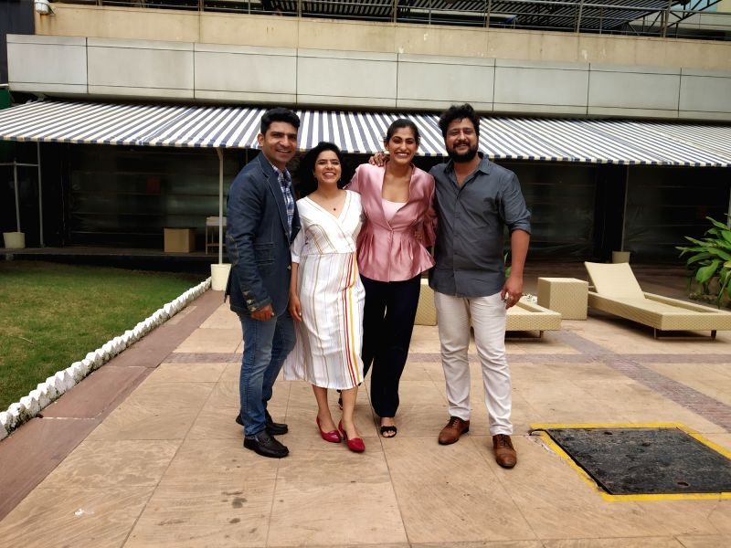 Actors Jatin Sarna, Rajshri Deshpande, Kubra Sait and Jitendra Joshi arrive for an interview, in Mumbai's Juhu on Aug 2, 2018. - Jatin Sarna, Rajshri Deshpande, Kubra Sait and Jitendra Joshi