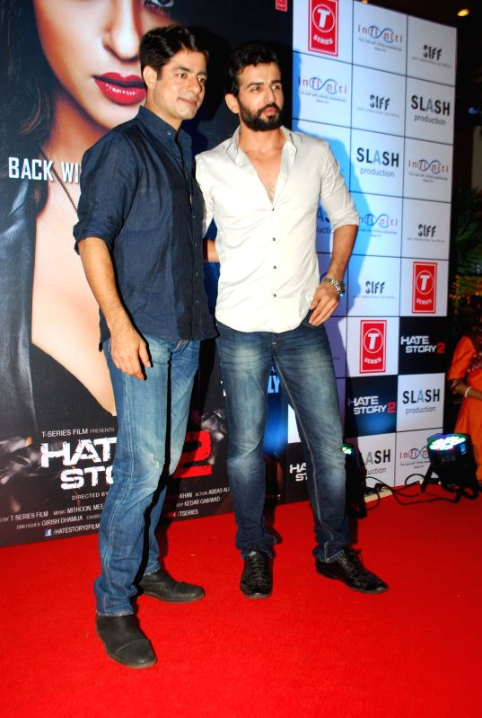 Actors Jay Bhanusali and Sushant Singh during the promotion of film Hate Story 2 in Mumbai on July 12, 2014. - Jay Bhanusali and Sushant Singh