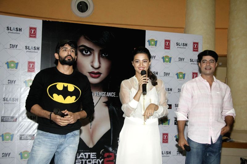 Actors Jay Bhanusali, Surveen Chawla and Sushant Singh during the promotion of film Hate Story 2 in Mumbai on July 13, 2014. - Jay Bhanusali, Surveen Chawla and Sushant Singh