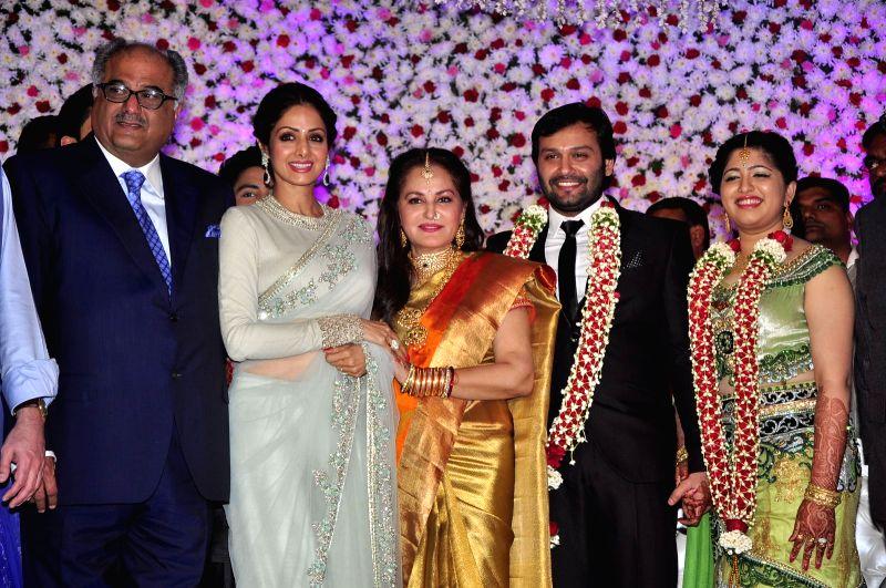 Actors Jayaprada and Sridevi during the wedding reception of actress Jayaprada`s son Siddharth with Pravallika Reddy in Hyderabad. - Sridevi and Pravallika Reddy