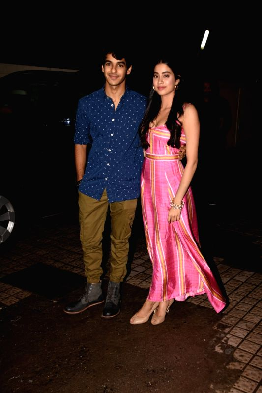 "Actors Jhanvi Kapoor and Ishaan Khatter at the special screening of their upcoming film ""Dhadak"", in Mumbai on July 14, 2018. - Jhanvi Kapoor and Ishaan Khatter"