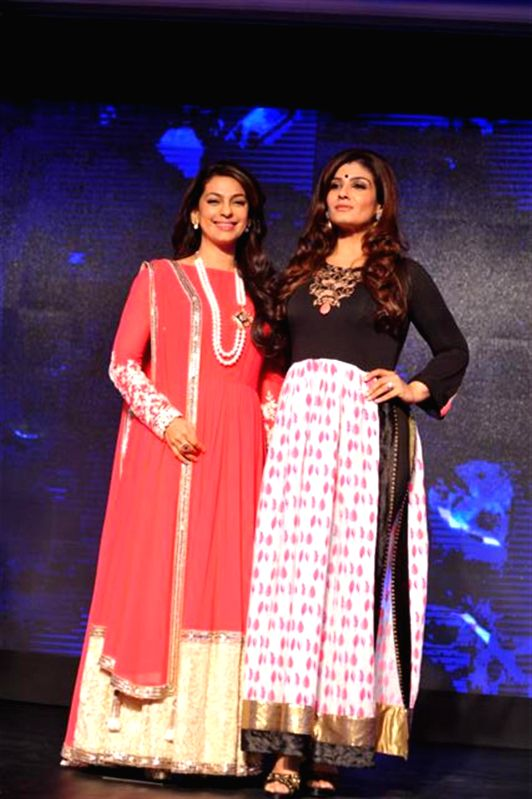 Actors Juhi Chawla and Raveena Tandon during the launch of Multi Screen Media (MSM) new Hindi general entertainment channel Sony Pal in Mumbai on August 7, 2014. - Juhi Chawla and Raveena Tandon