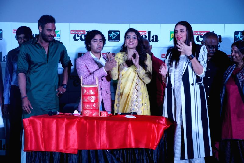 "Actors Kajol, Ajay Devgn, Neha Dhupia and others at the trailer launch of upcoming film ""Helicopter Eela"" in Mumbai, on Aug 5, 2018. - Kajol, Ajay Devgn and Neha Dhupia"