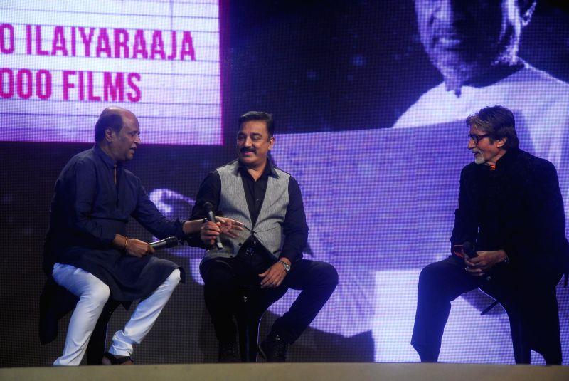 Actors Kamal Haasan, Rajnikanth, Amitabh Bachchan  during the trailer launch of upcoming film Shamitabh and celebration of 1000 film of music composer Ilaiyaraaja in Mumbai on 20th Jan 2015. - Kamal Haasan, Rajnikanth and Amitabh Bachchan