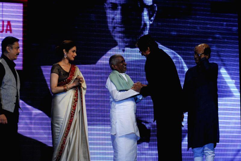 Actors Kamal Haasan, Sridevi, Rajnikanth, Amitabh Bachchan and Indian music composer Ilaiyaraaja  during the trailer launch of upcoming film Shamitabh and celebration of 1000 film of music composer .. - Kamal Haasan, Sridevi, Rajnikanth, Amitabh Bachchan and Indian