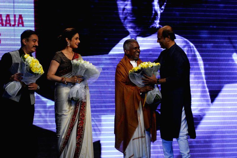 Actors Kamal Haasan, Sridevi, Rajnikanth and Indian music composer Ilaiyaraaja  during the trailer launch of upcoming film Shamitabh and celebration of 1000 film of music composer Ilaiyaraaja in ... - Kamal Haasan, Sridevi, Rajnikanth and Indian