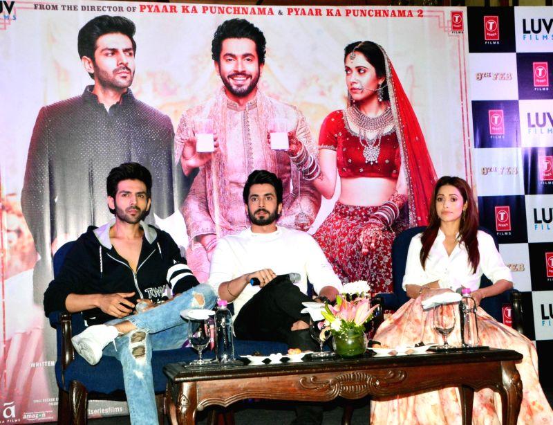 "Sonu Ke Titu Ki Sweety"" - press conference - Kartik Aaryan, Sunny Singh and Nushrat Bharucha"