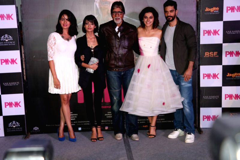 Actors Kirti Kulhari, Andrea Tariang, Amitabh Bachchan, Taapsee Pannu and Angad Bedi, and Piyush Mishra during the trailer launch of film Pink in Mumbai, on August 9, 2016. - Kirti Kulhari, Andrea Tariang, Amitabh Bachchan, Taapsee Pannu, Angad Bedi and Piyush Mishra