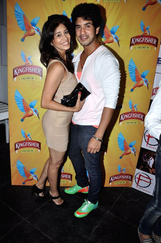 Actors Kishwer Merchant and Suyyash Rai during the success party of Dilli Fukrey cricket team from Box cricket league (BCL) in Mumbai on April 26, 2014. - Kishwer Merchant and Suyyash Rai