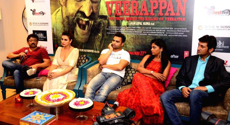 Actors Lisa Ray, Usha Jadhav, Sandeep Bharadwaj, filmmaker Ram Gopal Varma and producer Sachin Joshi during a press conference to promote their upcoming film 'Veerappan' in Jaipur on May 24, ... - Lisa Ray, Usha Jadhav, Sandeep Bharadwaj and Sachin Joshi