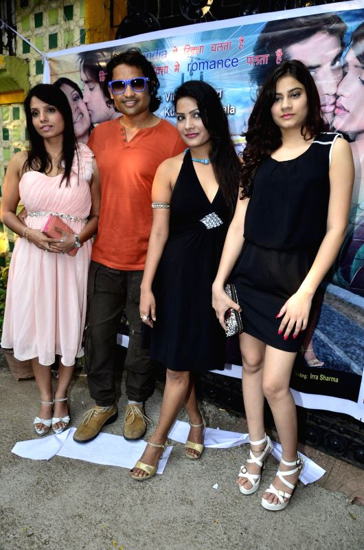 Actors M.K, Siddath Jaaju, Sweety Sinha and Mahi Sharma during the records song for the film  ``Auto Romance `` in Mumbai  on 22nd April 2014. - M., Sweety Sinha and Mahi Sharma