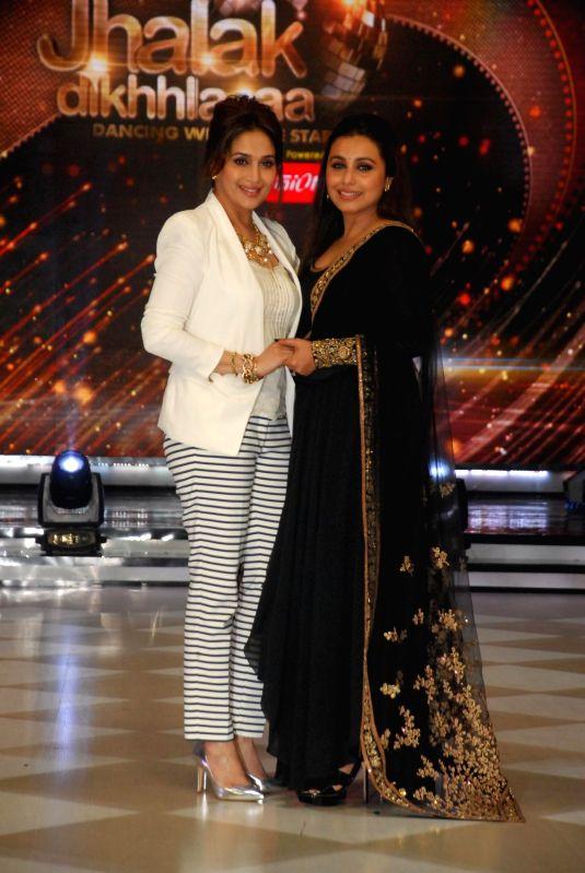 Actors Madhuri Dixit and Rani Mukerji on the sets of Jhalak Dikhhla Jaa 7 during the promotion of film Mardaani in Mumbai on July 22, 2014. (Photo : IANS) - Madhuri Dixit and Rani Mukerji