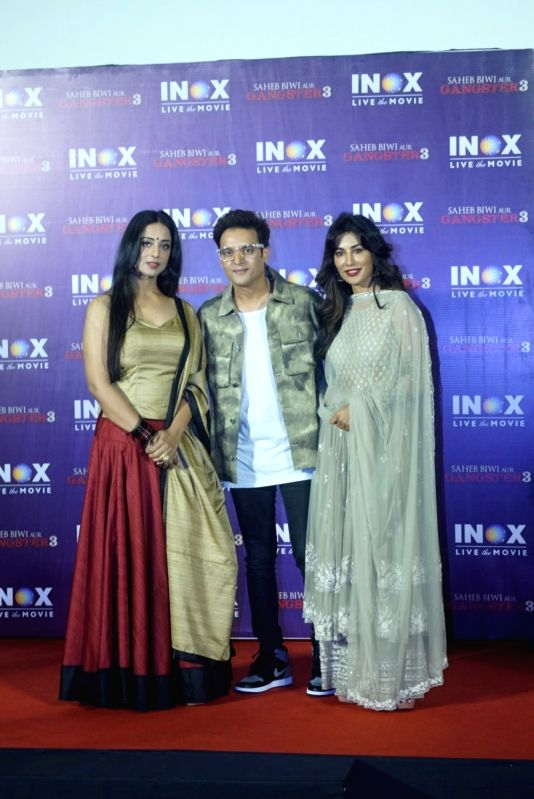 "Actors Mahie Gill, Jimmy Sheirgill and Chitrangada Singh at the promotion of their upcoming film ""Saheb Biwi Aur Gangster 3"" in Mumbai on July 23, 2018. - Mahie Gill, Jimmy Sheirgill and Chitrangada Singh"