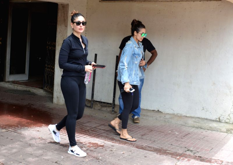 Actors Malaika Arora and Kareena Kapoor seen at a Mumbai gym on Aug 4, 2018. - Malaika Arora and Kareena Kapoor
