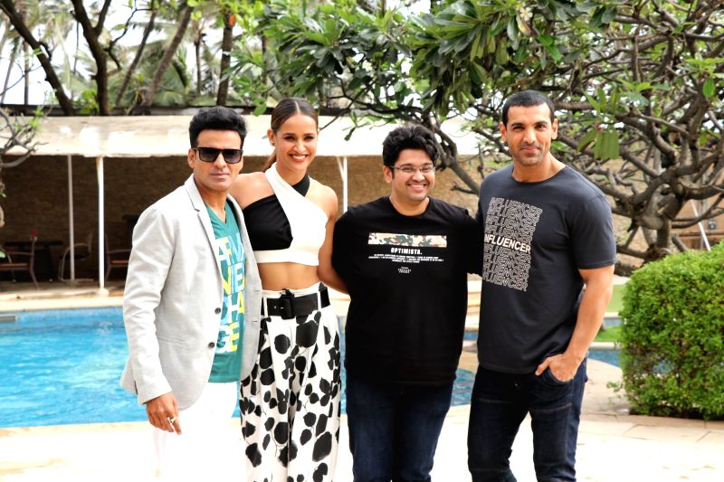"Actors Manoj Bajpayee, Aisha Sharma, John Abraham and director Milap Zaveri during the promotion of their upcoming film ""Satyameva Jayate"" in Mumbai on Aug 3, 2018. - Milap Zaveri, Manoj Bajpayee, Aisha Sharma and John Abraham"