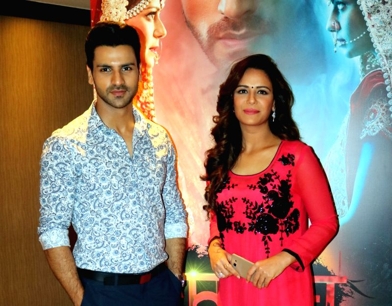 "Actors Mona Singh and Vivek Dahiya during promotion of their upcoming television show  ""Kavach...Kaali Shaktiyon Se"" in New Delhi, on June 2, 2016. - Mona Singh and Vivek Dahiya"