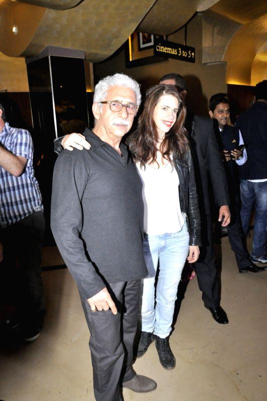 Actors Naseeruddin Shah and Kalki Koechlin at Screening Of Film Waiting in Mumbai on May 25, 2016 - Naseeruddin Shah and Kalki Koechlin
