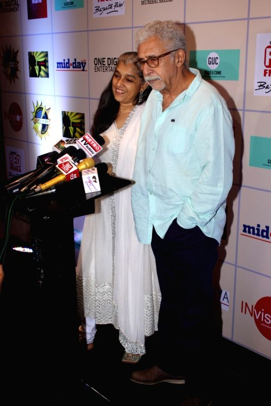 Actors Naseeruddin Shah and Ratna Pathak Shah during the Disney India`s Beauty And The Beast musical event on May 15, 2016. - Naseeruddin Shah and Ratna Pathak Shah